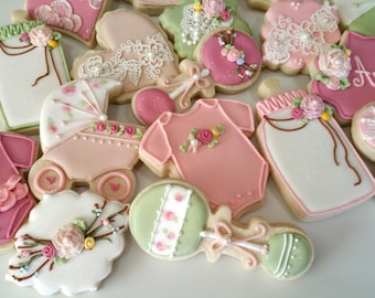Vintage baby shower cookies, heart cookies, lace cookies, girl baby shower cookies,vintage cookies,baby sprinkle, party favors, baby girl