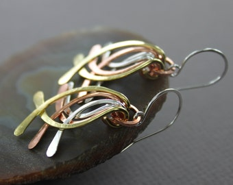 Long mix metal cascade feather style hammered curved bars dangle earrings - Metal earrings - Cascade earrings - Feather earrings - ER088