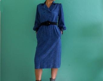 sale   80's royal blue mosaic print dress with pockets ~ small medium