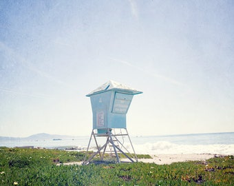 California photography, lifeguard station photography, santa barbara photography, coastal decor, california decor, pastel decor, large art