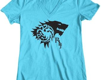 Women's Game of Thrones Rhaegar + Lyanna = Jon Snow Junior Fit V-Neck T-Shirt