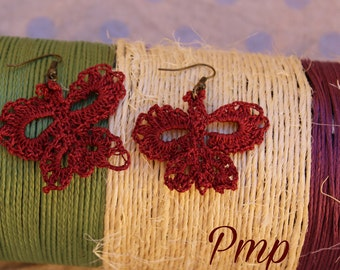Crochet earrings. Butterflies. Accesories and Accessories Valentine's Day. Jewellery-Crochet jewelry. Red Crochet blood earring.