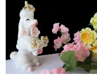 Spaghetti Poodle Figurine * Pink Flowers * Vintage Dog Decor * Japan