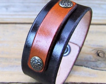 Leather Bracelet with tag and rivets