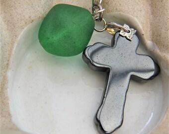Green Bead & Grey Hematite Cross Keyring, Birthday Gift, Teacher Gift, Christmas Gift, Accessories, Secret Santa Gift, Stocking Filler
