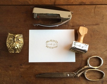 Botanical Wedding Thank You Stamp - Party Favor Stamp - DIY Card Gift Tag - Hand Drawn Vines Branches Floral Feminine Simple Small Stamp