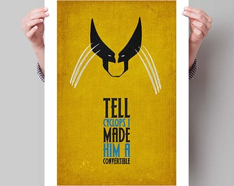 "X-MEN Inspired Wolverine Minimalist Poster Print - 13""x19"" (33x48 cm)"