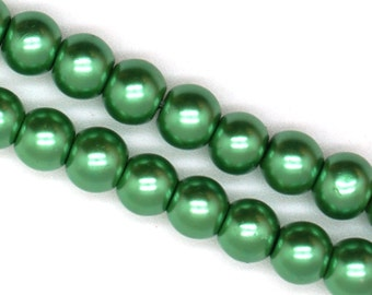 Wintergreen Glass Faux Pearl Strands - Select Size: 4mm, 6mm, 8mm, 10mm