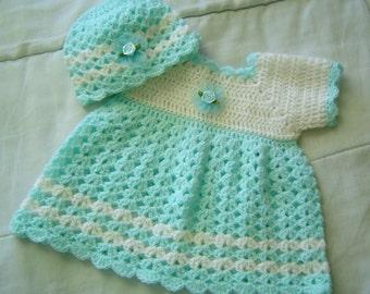 0030B Aqua Newborn Pattern,Dress and Beanie Pattern,Infant Dress Design,Baby Clothes Pattern by CarussDesignZ