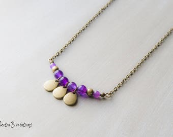 Necklace drops plum jade and brass pendants