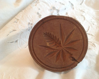 Antique wooden butter or cookie stamp, pinecone or thistle