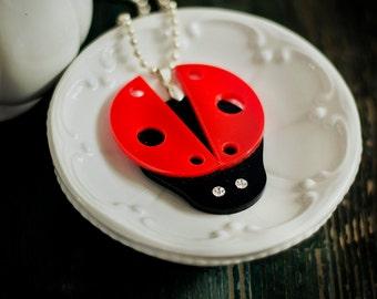 Ladybug Necklace,Ladybug Jewelry,Kawaii Necklace, Lasercut Acrylic,Gifts Under 25
