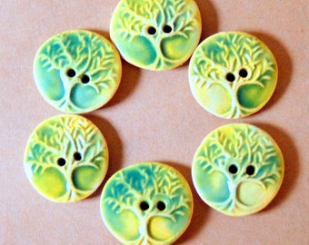6 Handmade Ceramic Buttons in Light Green - Tree of Life Buttons - Small Size -  Perfect for Baby Sweater or Child's Scarf or Hat