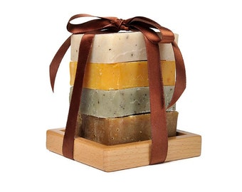 5-Piece Organic Handmade Soap Gift Set with wooden soap dish - Scented with essential oils