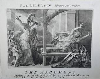 Minerva and Arachne Steel Engraving