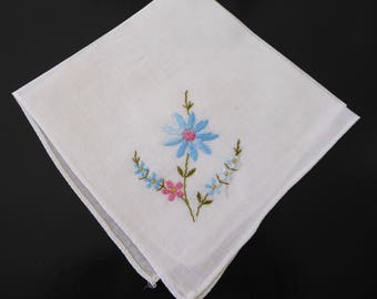 Vintage handkerchief with embroidered blue flowers #128