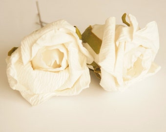 Bridal Hair Accessories, Ivory  Rose, Off White  flower Hair Bobby Pins- set 2
