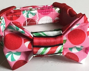 Red & Green Christmas Candy Bow Tie Collar for Male Dogs and Cats