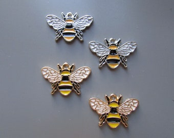 Bee charm pendant 2 colours to choose
