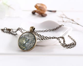 Tunis Map Necklace - Tunisia Map Jewelry -Custom Vintage Map Series