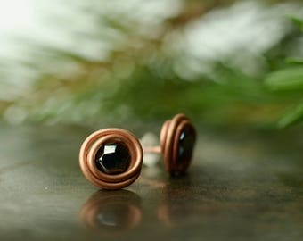 black stud earrings copper stud earrings rustic stud minimalist copper earrings everyday earrings modern earrings simple stud earring