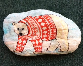 Polar bear in a sweater painted rock paperweight