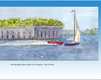 """Portland, Maine, Casco Bay, Ft. Gorges, """"Red Speedboat Photo Bomb"""" watercolor Signed Print- Sheryl Wing. Giclee 7 x 10"""