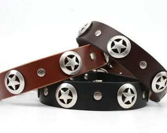 Dog Collar Leather, Dog Collar, Leather Collar, Silver Star Dog Collar, Leather Dog Collars, Boy Dog Collar, Collar Leather, Handmade, USA