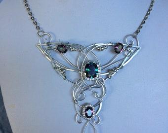 Unique mystic topaz  necklace