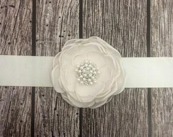 Ivory wedding sash, floral wedding sash, all white sash, wedding belt, simple wedding sash, white sash