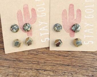 Pyrite Stud Earring Set