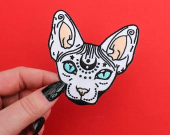 """Mystical Sphynx Cat, Iron on Patch -  3"""" - Embroidered Cat Patch - hairless cat - cat gift - sphynx cat - magical cat - flair - cat patch"""