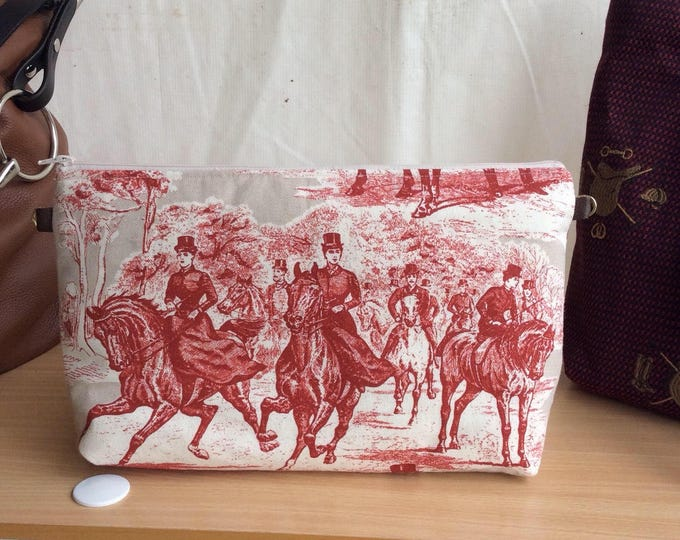 Equestrian Horse Clutch/Shoulder Bag Purse in a Red and Tan  Sidesaddle Hunt Scene