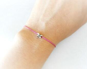 Silver Plated Dragonfly Charm, Soft Light Pink String Bracelet, Thin String Bracelet, Mother's Gift, Gift for Girls