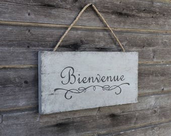 Welcome sign / French welcome sign / Bienvenue / French wall decor / 32cmx43cm / Wood sign