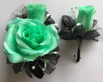 Mint Green Silk Corsage Set (New Bigger Flowers )