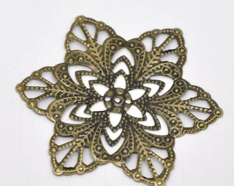 5 Filigree Stamping Antique Bronze Connectors Star Flower Wraps 57mm C199A