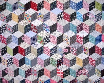 SALE - Twin Size Quilt - 70 x 91 - Vintage Look 1930s Tumbling Blocks Quilt - Reproduction Feed Sack Fabric - Patchwork Scrap Quilt