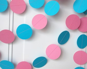 Party Paper Garland, Pink & Aqua Blue Party Decoration, All Occasion, Birthday Party, Gender Reveal, Baby Shower, 12 Ft.
