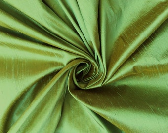 Green Gold iridescent 100% Dupioni Silk Fabric Wholesale Roll/ Bolt