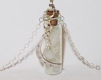 Crystal Bottle Vial Necklace: Rainbow Moonstone with Moon Charm*