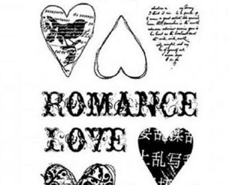 Stampington & Co Romance Elements Clearly Impressed Set Cling Rubber Stamp