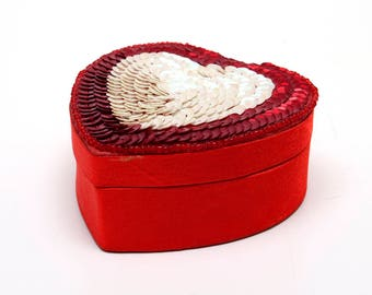 Jewelry / Trinket Box Heart-Shaped -- Rows of White Sequins on Top -- Red Satin Sides and Bottom and Lining