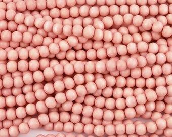 50 Perles de bois rondes roses 8mm