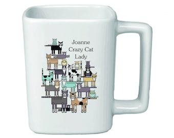 Personalized Crazy Cat Lady 11oz Square Mug