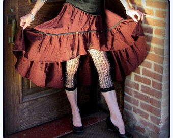 Red Steampunk Skirt ~ Pirate Skirt w/ stripes ~ Pirate Costume ~ Steampunk clothing belly dance Gypsy skirt, high low bustle skirt