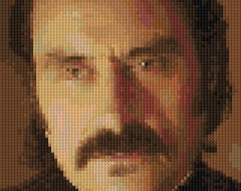 Al Swearengen portrait counted Cross Stitch Pattern Ian McShane Deadwood