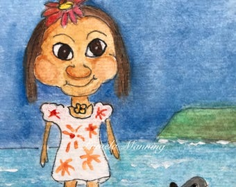 On The Rocks Island Girl ORIGINAL Watercolor ACEO 2.5 x 3.5 ATC by Pamela Godwin Manning