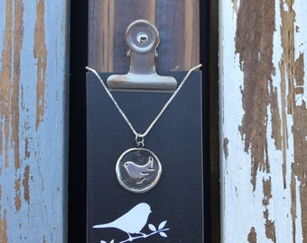 Bird Silver Wax Seal Stamp Necklace