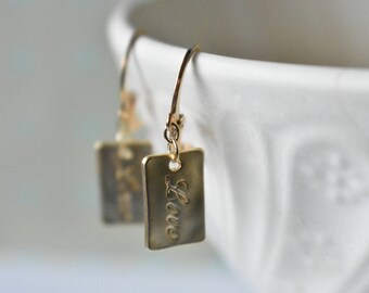 LOVE letter earrings matte gold